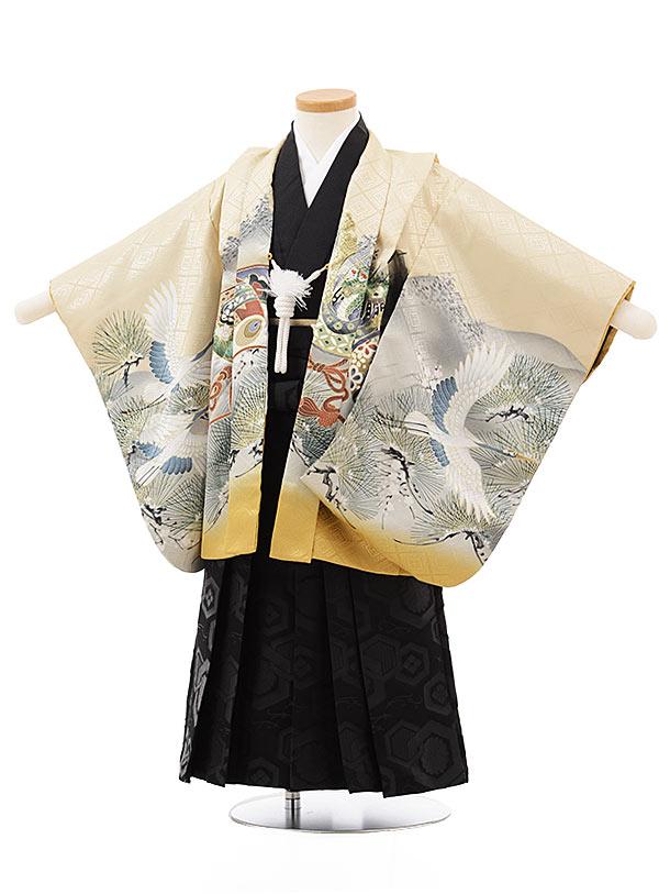 七五三レンタル(3歳男児袴)2462ベージュぼかし虎に鷹×黒亀甲紋