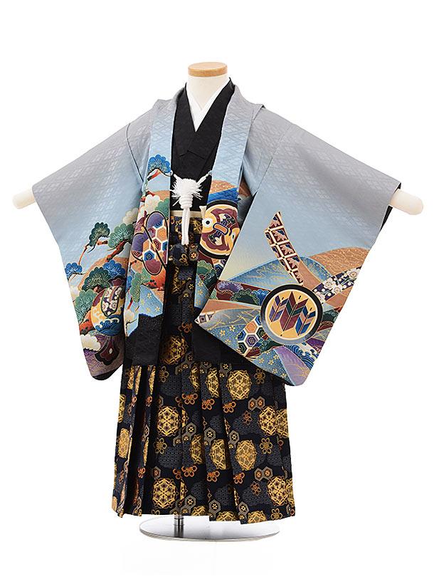 七五三レンタル(3歳男児袴)2463グレー地かぶと太鼓×紺ゴールド