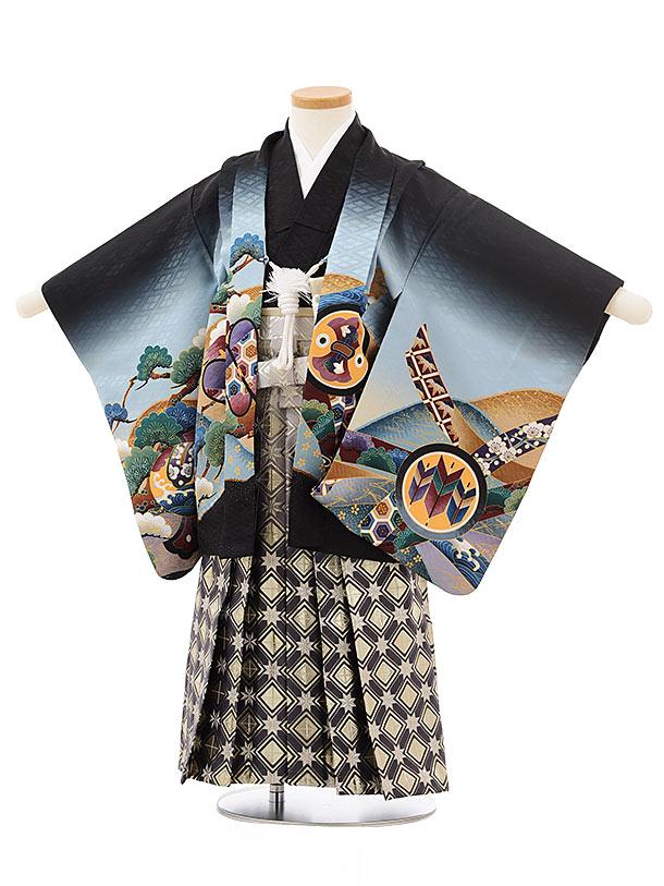 七五三レンタル(3歳男児袴)2464黒地 屏風に鷹×グレーシルバー袴