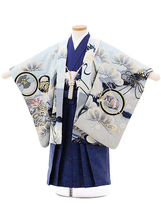 七五三レンタル(3歳男児袴)2468乙葉 絵羽かぶとに鶴水色