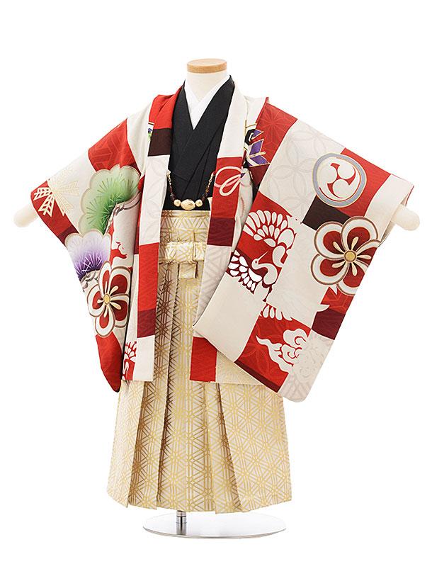 七五三レンタル(3歳男児袴)2471九重 絵羽赤白市松に鷹