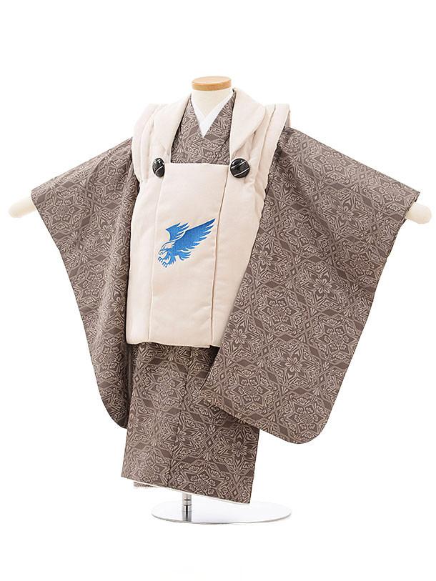 七五三レンタル(3歳男児被布)2477ぷちぷりベージュ鷹×うす茶変わり柄