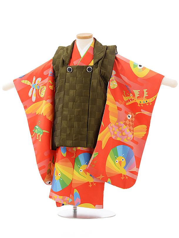 七五三レンタル(3歳男児被布)2486HAPPYEARTH濃緑×オレンジ