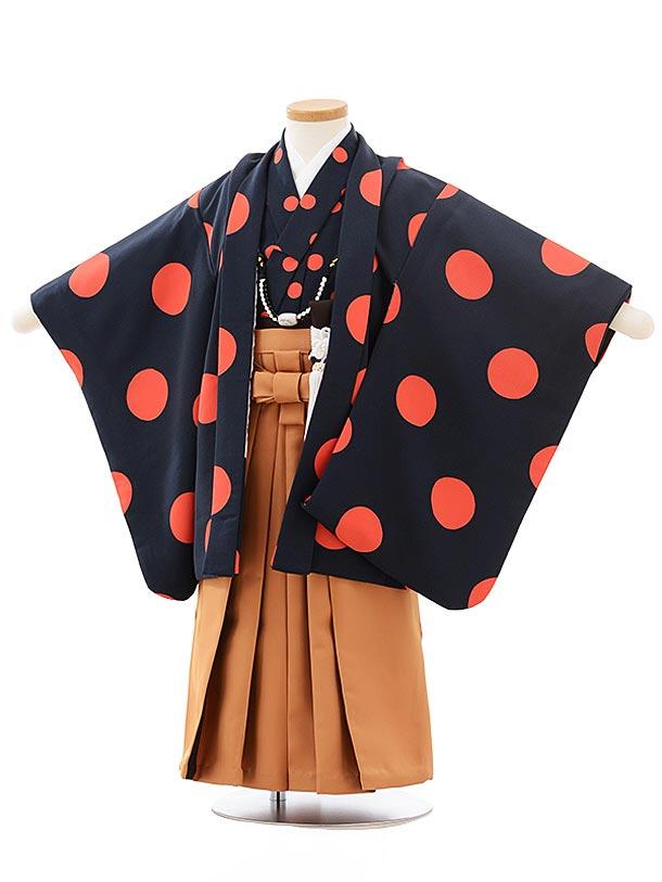 七五三レンタル(3歳男袴)2492  紺 オレンジ ドット