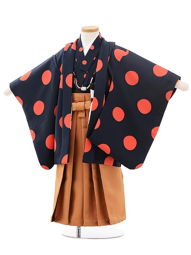 七五三レンタル(3歳男袴)2493  紺 オレンジ ドット