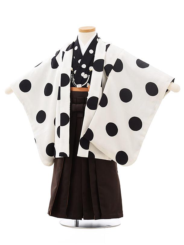 七五三レンタル(3歳男児袴)2494白黒ドット