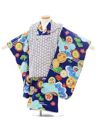 七五三レンタル(3歳男児被布)2495 式部浪漫 紺ベージュ麻の葉×紺丸紋