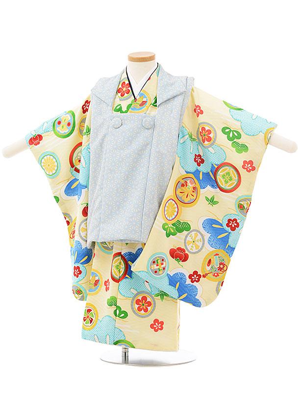 七五三レンタル(3歳男児被布)2496 式部浪漫 水色麻の葉×クリーム丸紋