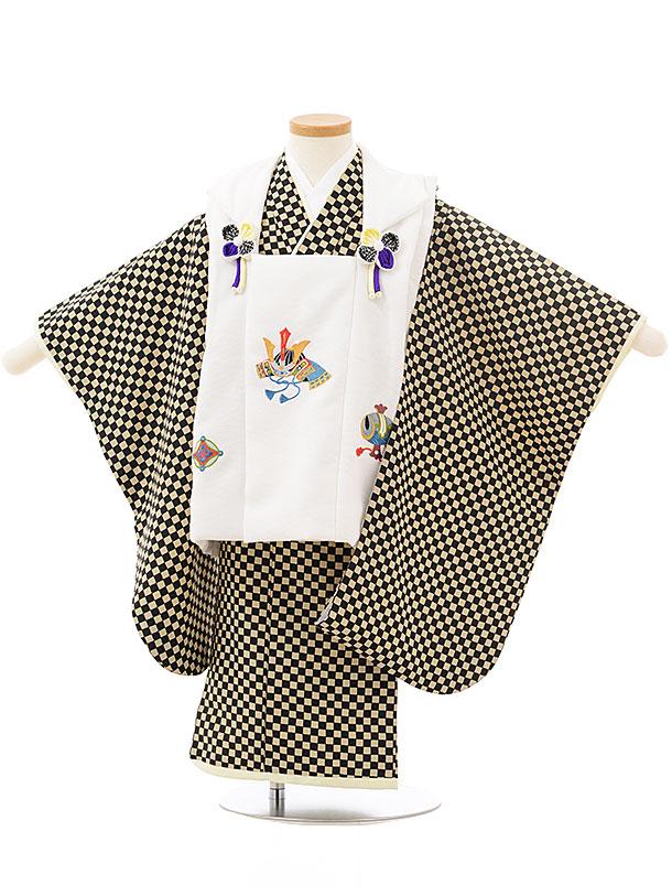 七五三レンタル(3歳男児被布)2497 白兜刺繍×黒ベージュ市松