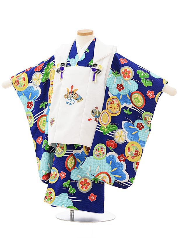七五三レンタル(3歳男児被布)2498 白兜刺繍×青丸紋