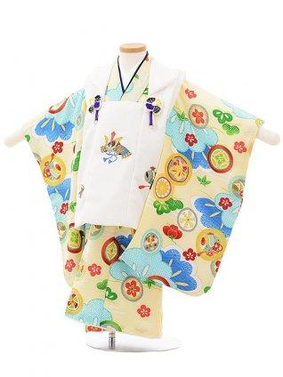 七五三レンタル(3歳男児被布)2499 白兜刺繍