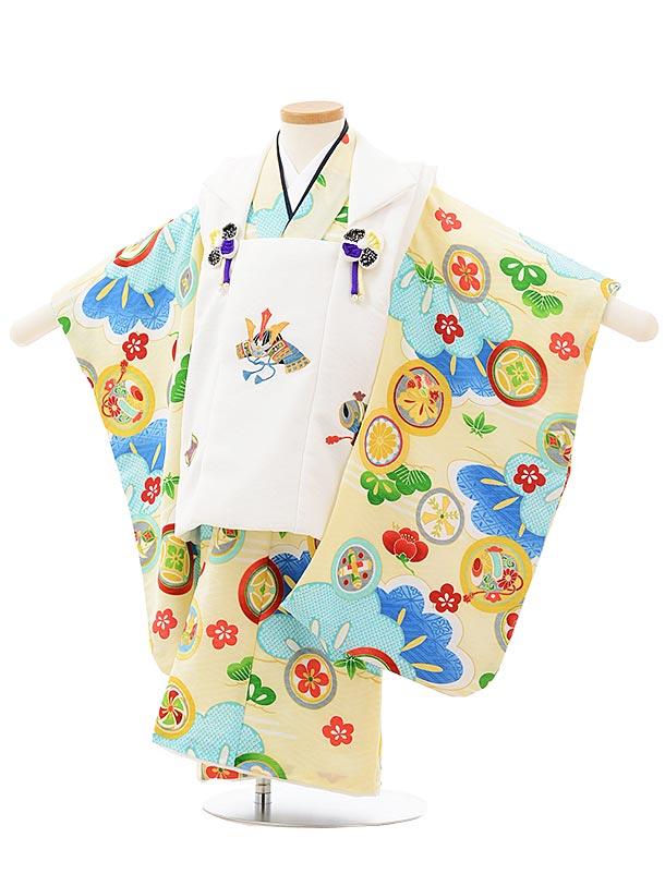 七五三レンタル(3歳男児被布)2499 白兜刺繍×クリーム丸紋