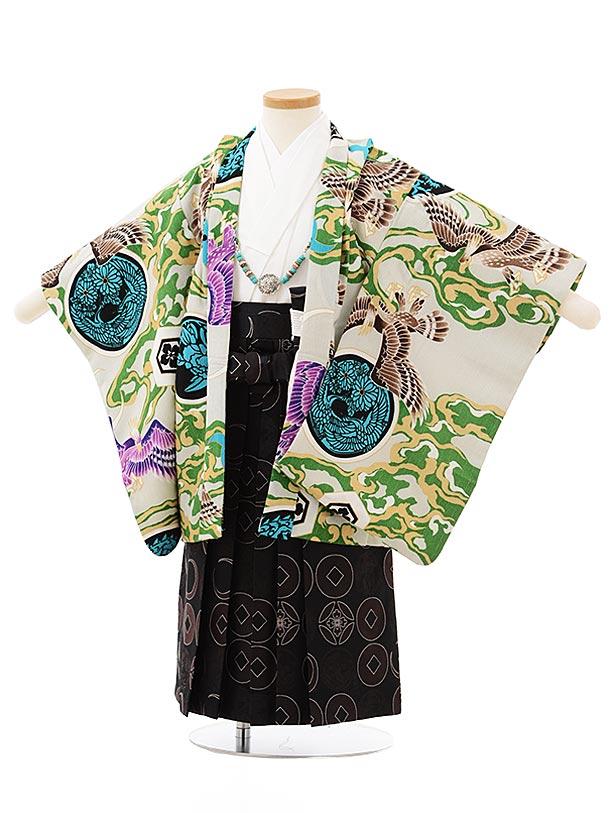 七五三レンタル(3歳男児袴)2504薄グリーン丸紋鷹×黒袴