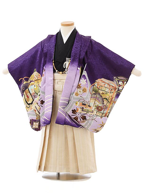 簡単七五三(3歳男児袴)2506 紫地熨斗に鷹×ベージュ袴