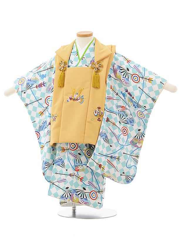 七五三レンタル(3歳男児被布)2512 からし色兜刺繍×水色市松