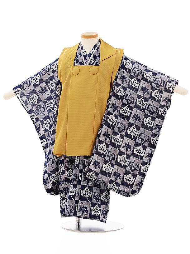 七五三レンタル(3歳男児被布)2530 夏物 からし色x紺市松に葉