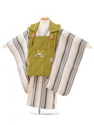 七五三レンタル(3歳男児被布)2536グリーン刺繍兜xオフホワイトストライプ