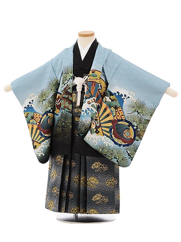 かんたん七五三レンタル(3歳男袴)2540ブルーグレー地波に兜x紺袴