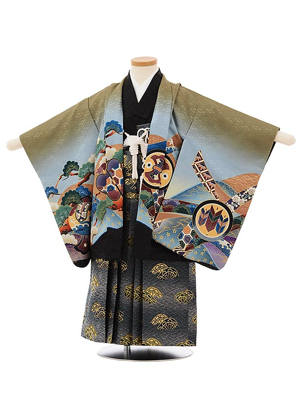 かんたん七五三レンタル(3歳男袴)2542抹茶色ぼか兜太鼓x紺袴