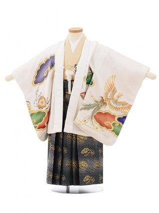 かんたん七五三レンタル(3歳男袴)2543白地雲に龍と鳳凰x紺袴