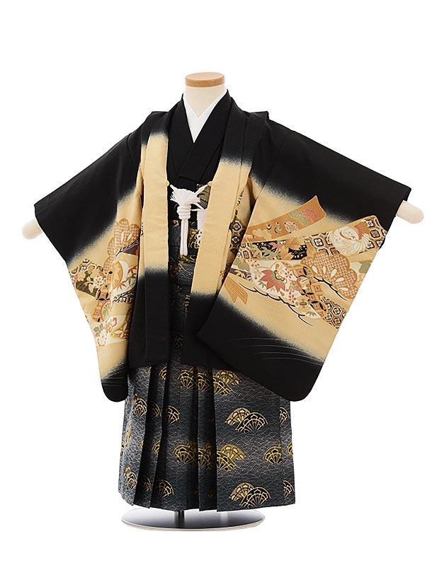 かんたん七五三レンタル(3歳男袴)2545黒地のしにかぶとx紺袴