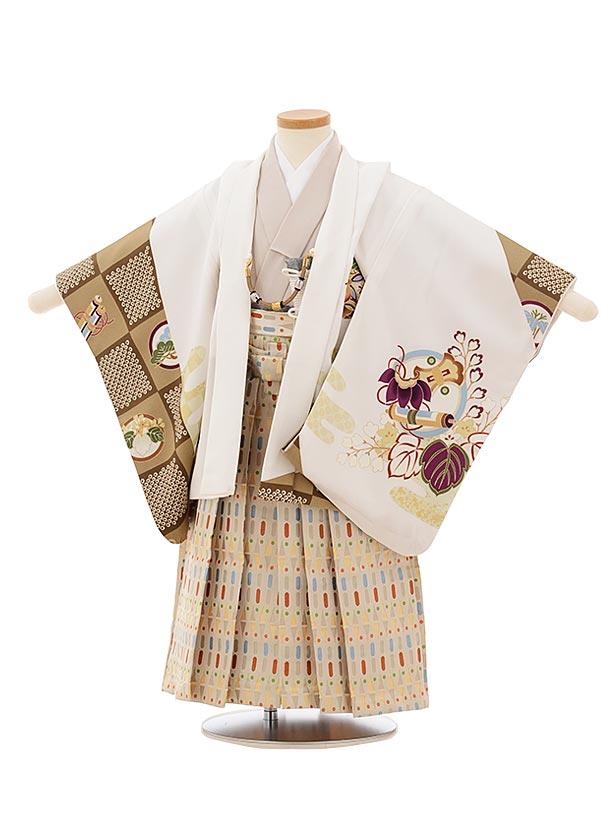 かんたん七五三レンタル(3歳男袴)2549白地橘に丸紋小槌xベージュカラフル袴