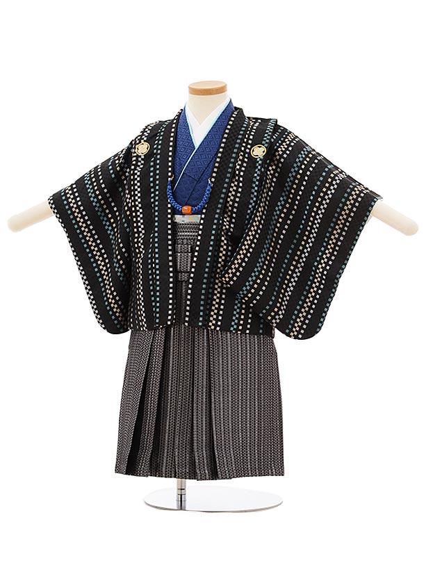 七五三レンタル(2歳男袴)2550黒地変わりストライプx黒シルバー袴