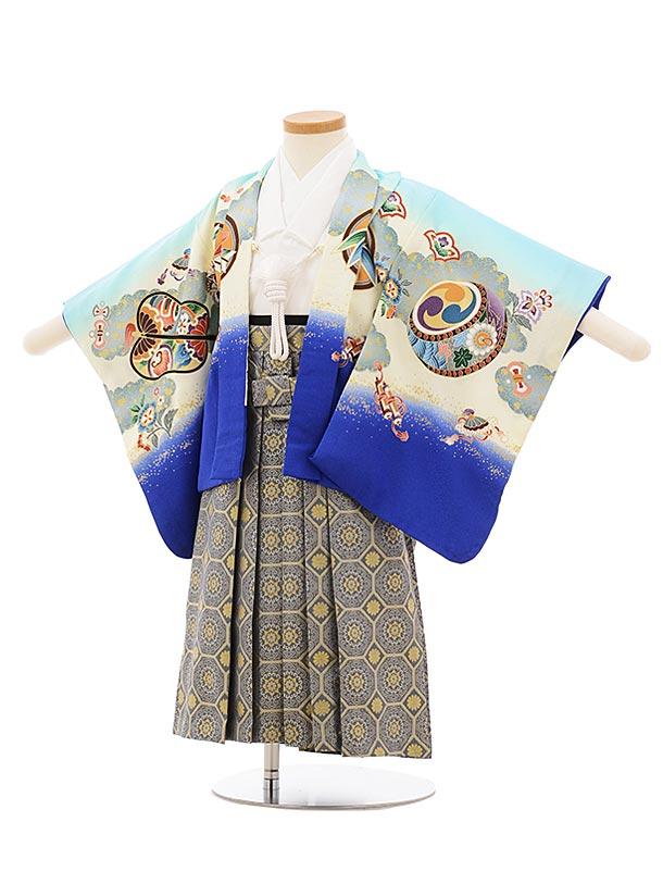 七五三レンタル(2歳男袴)2551水色裾ブルー鷹xグレー袴