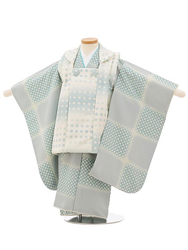 七五三レンタル(3歳男児被布)2552白薄ミントドットx薄ミント変わり市松