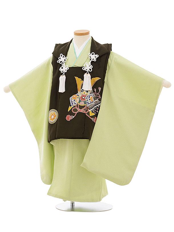 七五三レンタル(3歳男児被布)正絹 2556濃深茶緑兜xパステルグリーン籠目文