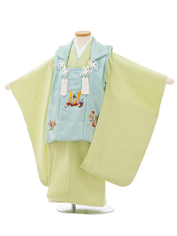 七五三レンタル(3歳男児被布)正絹 2557水色刺繍兜xパステルグリーン籠目文