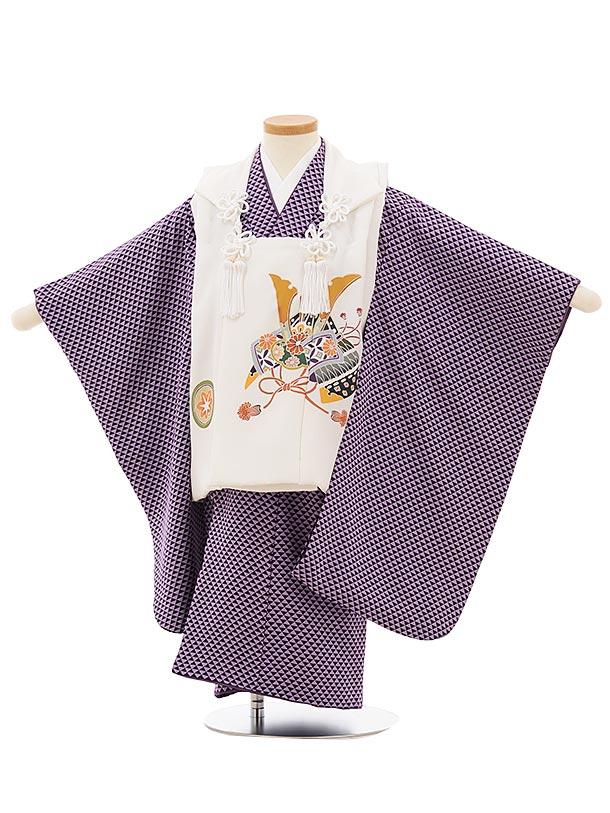 七五三レンタル(3歳男児被布)正絹 2560白地兜xパープルウロコ文様
