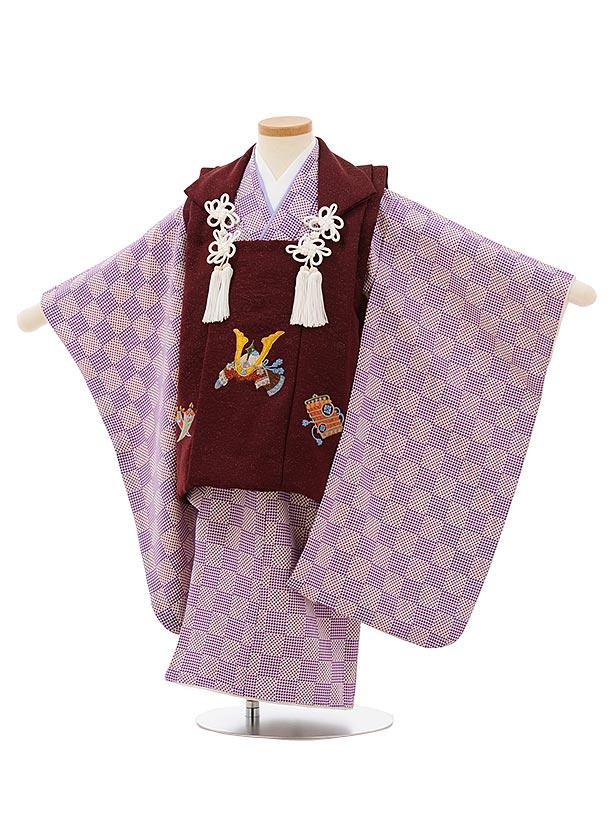 七五三レンタル(3歳男児被布)正絹2566ボルドーラメ刺繍兜xパープル変わり市松