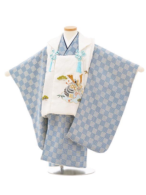 七五三レンタル(3歳男児被布)正絹2568白地兜xブルー変わり市松