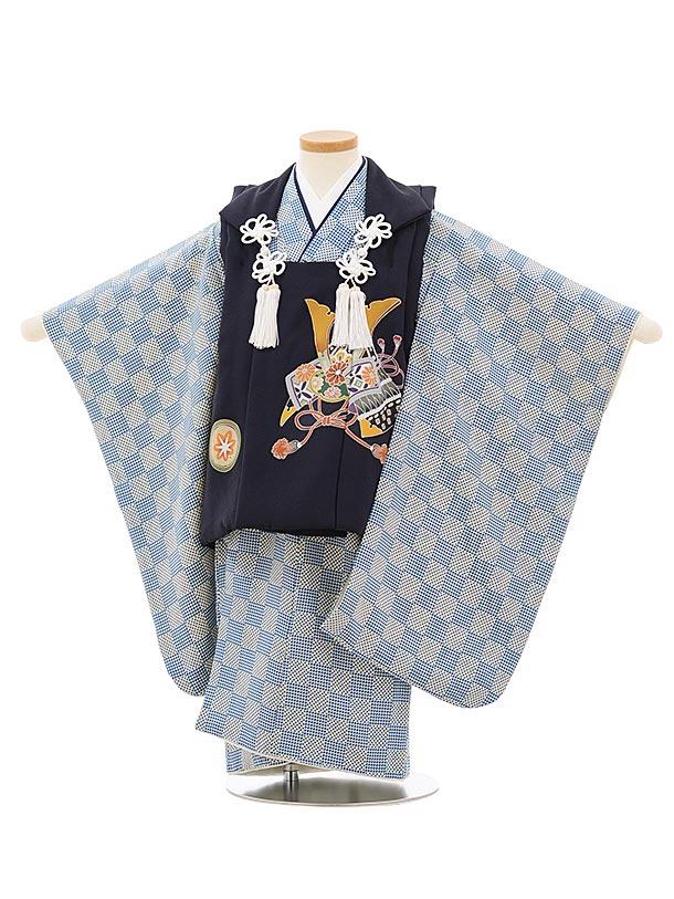 七五三レンタル(3歳男児被布)正絹2569紺地兜xブルー変わり市松