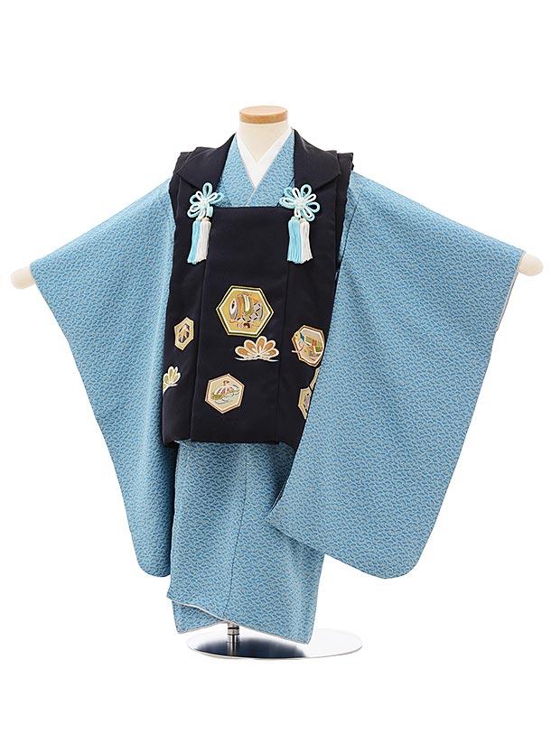 七五三レンタル(3歳男児被布)正絹2570紺地亀甲紋xブルー扇文