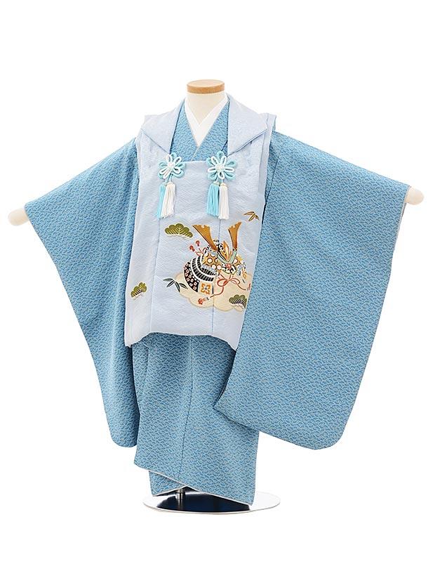七五三レンタル(3歳男児被布)正絹2571薄ブルーグレー兜xブルー扇文