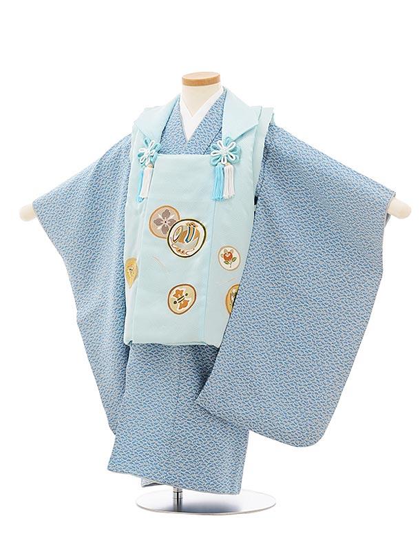 七五三レンタル(3歳男児被布)正絹2572水色丸紋xブルーグレー扇文