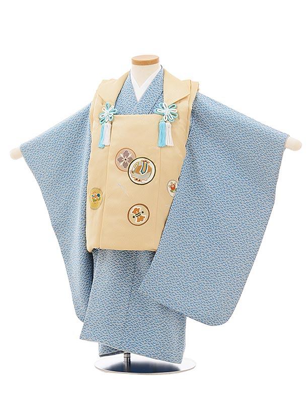 七五三レンタル(3歳男児被布)正絹2573ベージュ丸紋xブルーグレー扇文