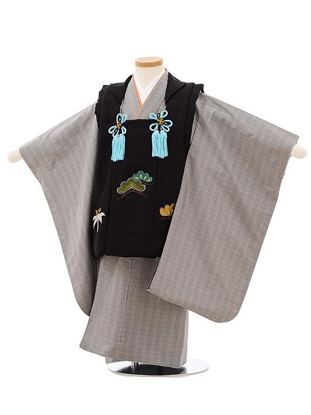 七五三(3歳男児被布)高級正絹2574黒刺繍松笹xグレンチェック大島紬