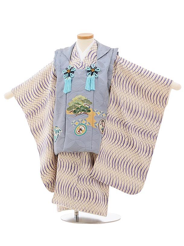 七五三(3歳男児被布)正絹2576グレー松に丸紋xオフホワイト変わり柄