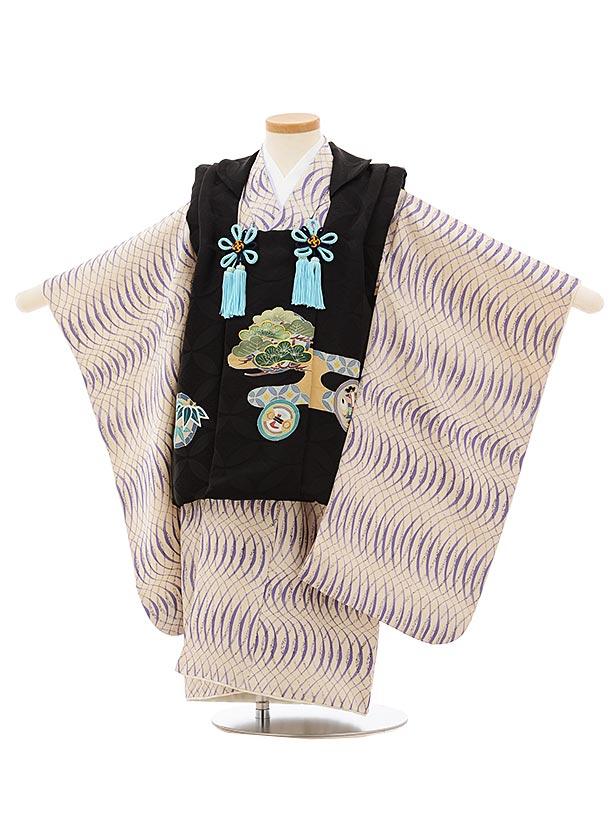 七五三(3歳男児被布)正絹2577黒 松に丸紋xオフホワイト変わり柄