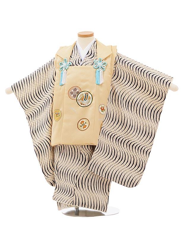 七五三(3歳男児被布)正絹2578ベージュ丸紋xアイボリー変わり柄