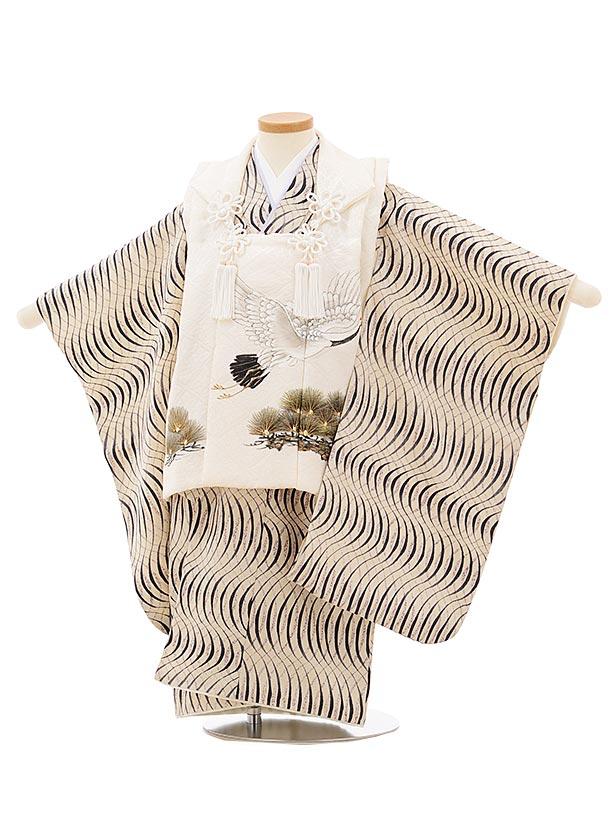七五三(3歳男児被布)正絹2579オフホワイト松鶴xアイボリー変わり柄
