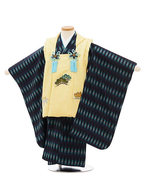 七五三(3歳男児被布)高級正絹2580薄黄色刺繍松笹x紺よろけ織