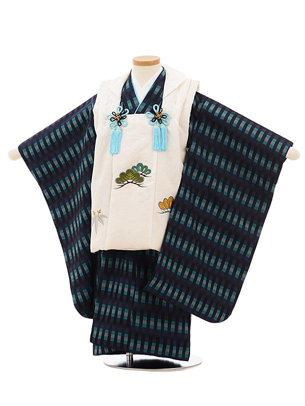 七五三(3歳男児被布)高級正絹2581白刺繍松笹x紺よろけ織