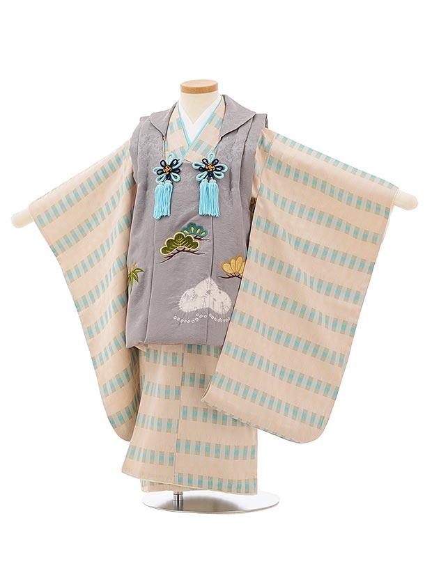 七五三(3歳男児被布)高級正絹2582グレー刺繍松笹xベージュ変わり柄