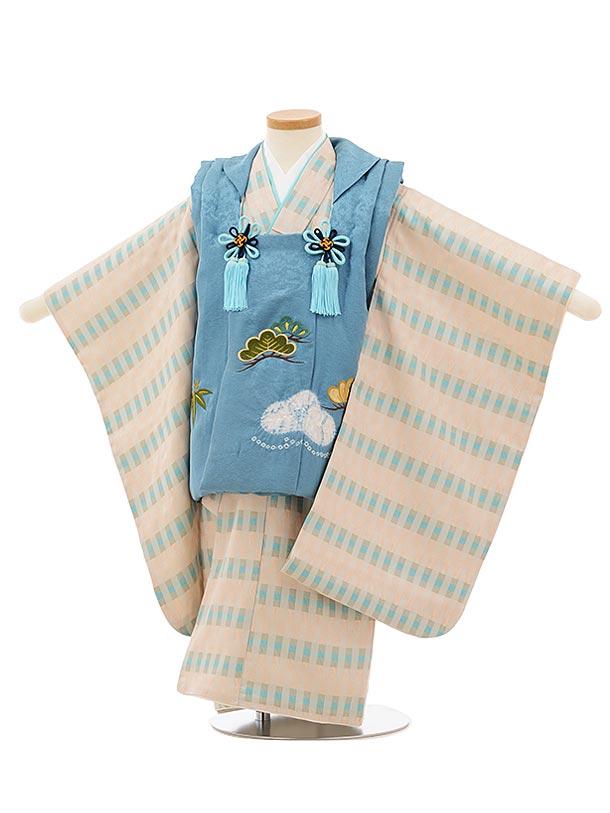 七五三(3歳男児被布)高級正絹2583ブルーグレー刺繍松笹xベージュ変わり柄