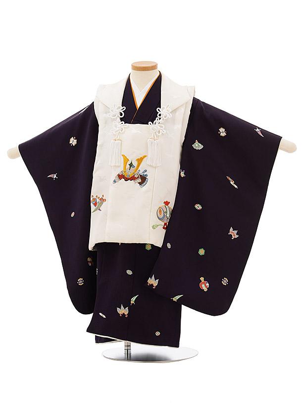 七五三レンタル(3歳男児被布)正絹2586白地刺繍兜xパープル宝尽くし