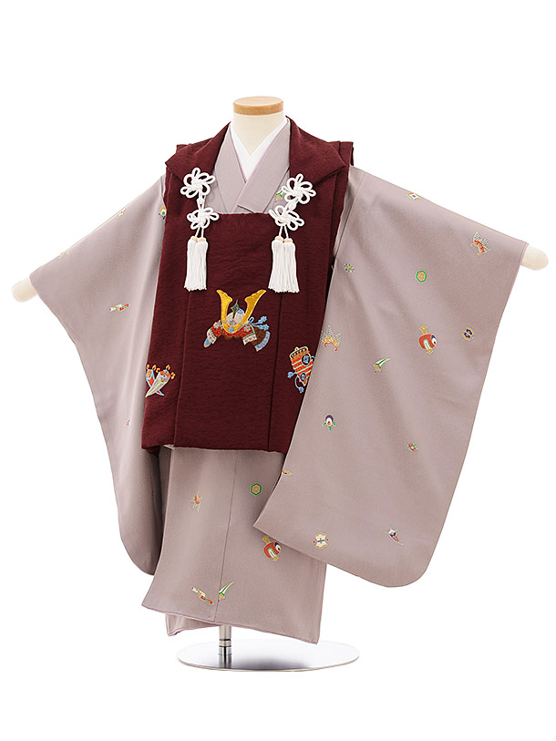 七五三レンタル(3歳男児被布)正絹2591ボルドー刺繍兜x薄パープル 宝尽くし
